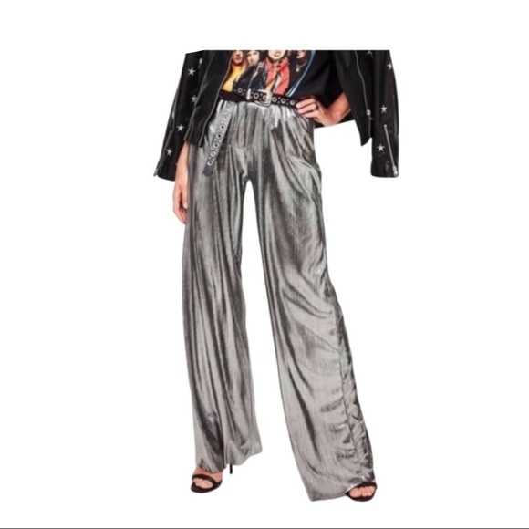 American Apparel Pants - American Apparel Disco Metallic Wide Leg Pant Sz L
